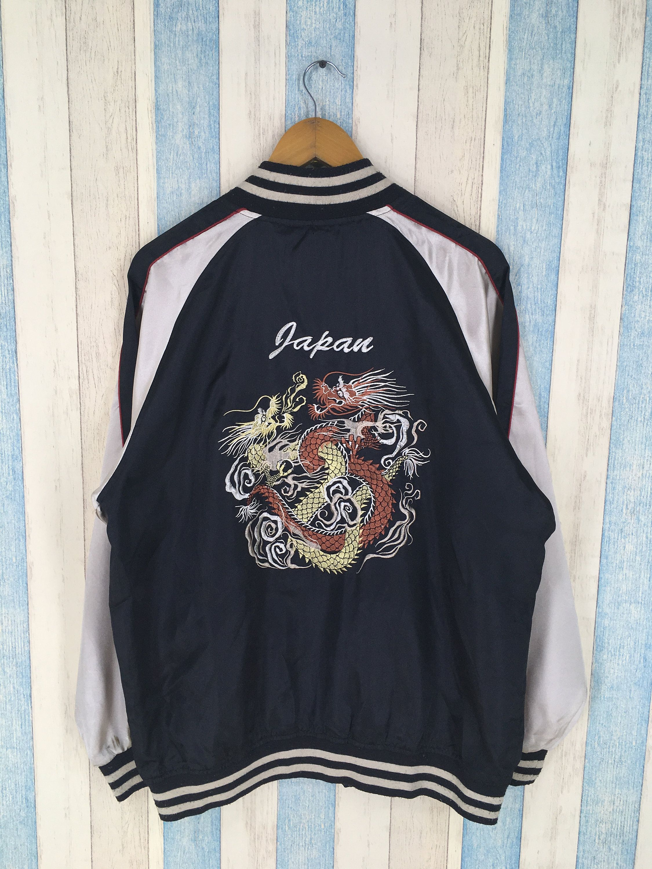 Sukajan Dragon Souvenir Jacket Large Vintage 80/'s Sukajan Tokyo Japanese Embroidery Tiger Satin Bomber Black Jacket Size L