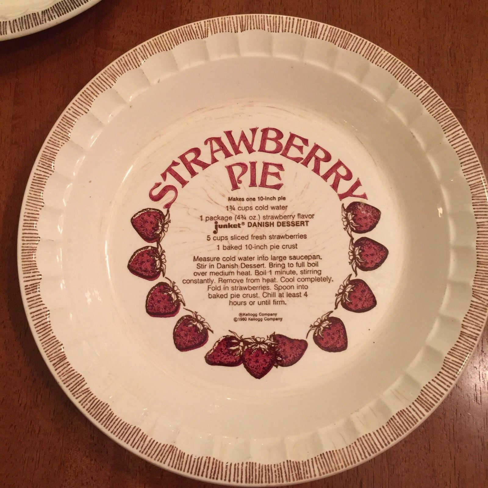 Collectible Pie Plates   eBay & Vintage Pie Recipe Baking Dishes Stoneware Apple Strawberry Lemon ...