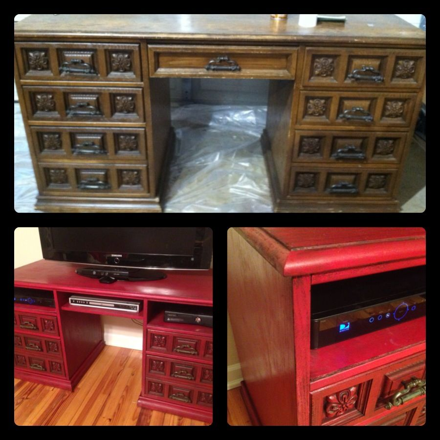 Desk Turned Tv Stand Stick A Basket Or Blankets Or Wine Rack In The Middle Repurposed Furniture Diy Tv Stand Painting Old Furniture