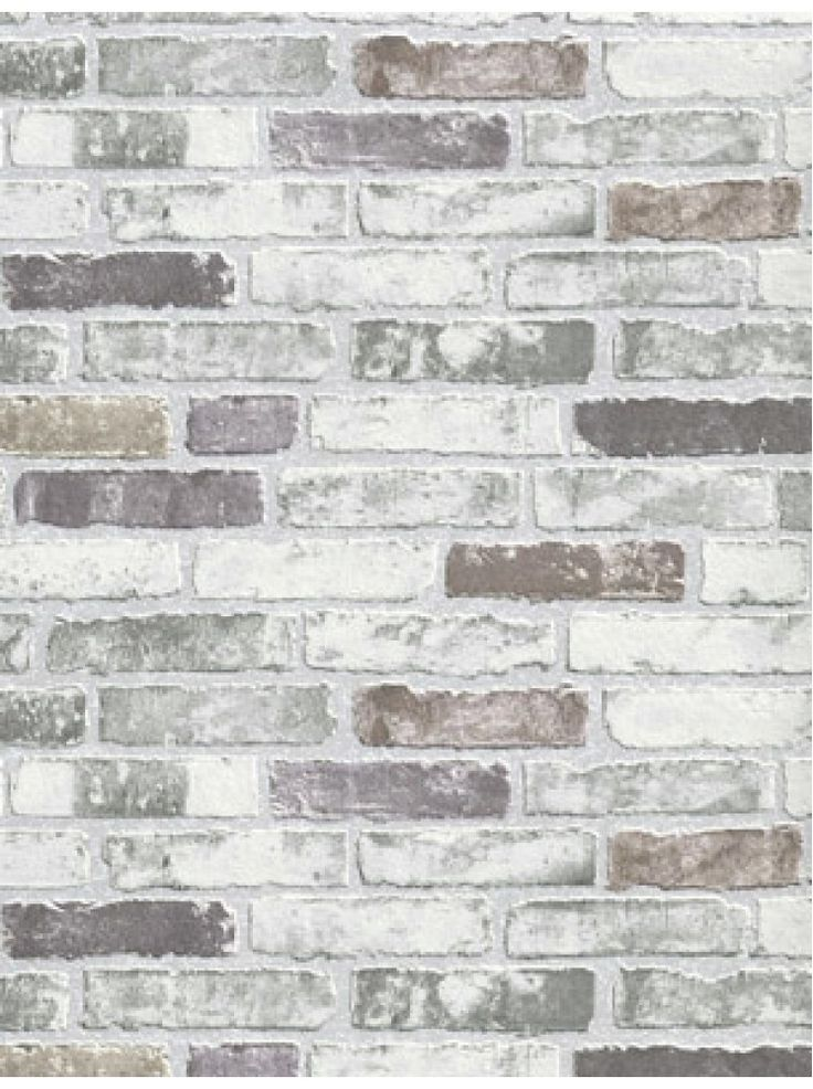Illusions Swiss Brick Soft Gray Realistic Modern Designer White Wash Wallpaper