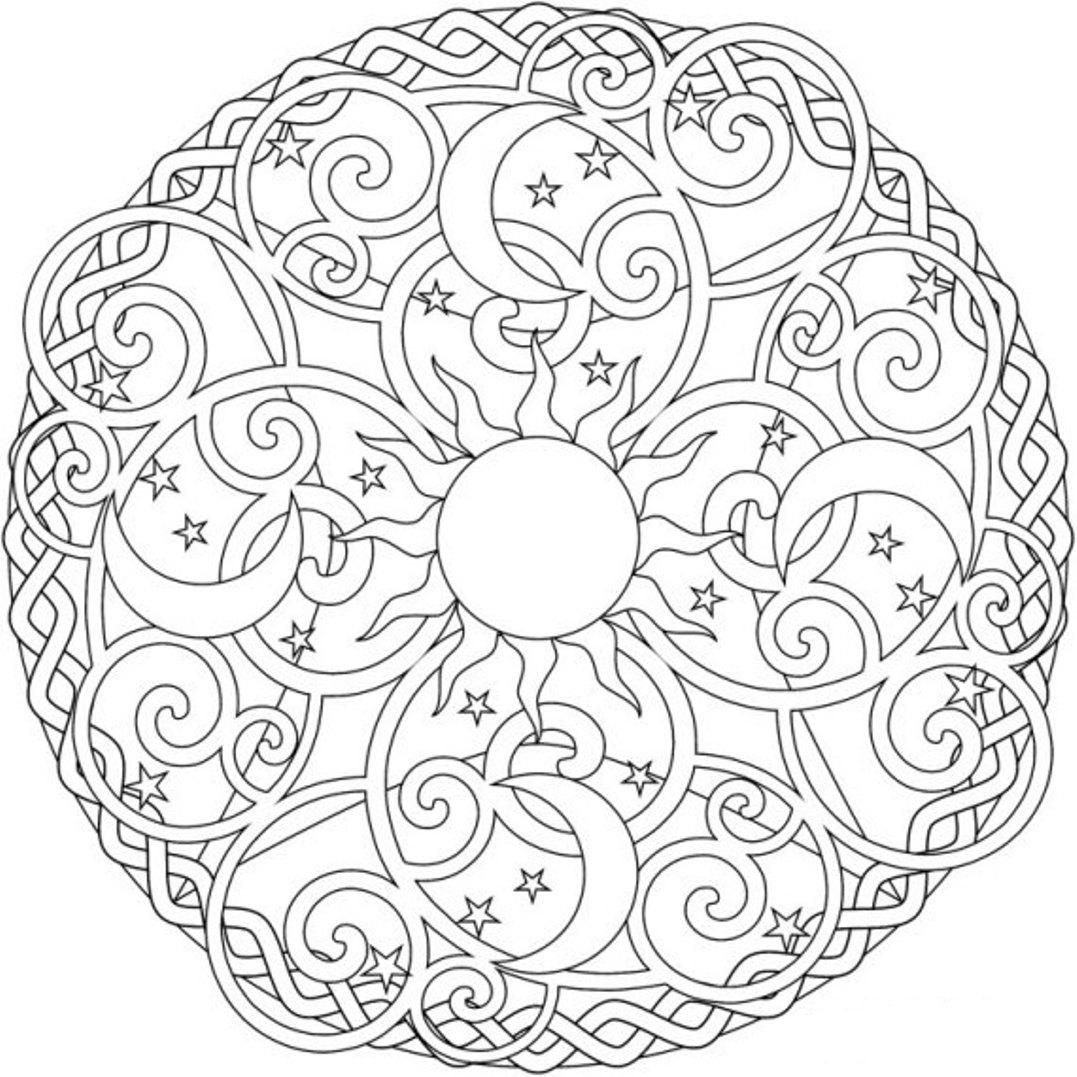 Colouring in pages mandala - Sun Moon And Stars Mandala Coloring Pages