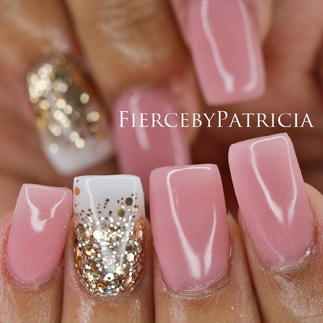 dusty pink nails with ombre gold glitter over white chic