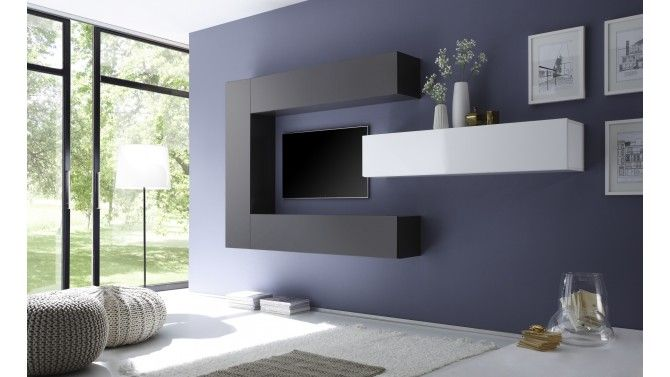 Meuble TV suspendu avec rangements - Manoj Salons - Meuble Tv Avec Rangement