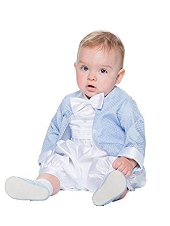 6a7d8ed24d57 White Baby Boys Christening Outfit Romper Vivaki