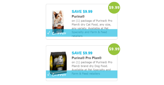 New High Value Purina Pro Plan Dog Cat Food Coupons Cat Food