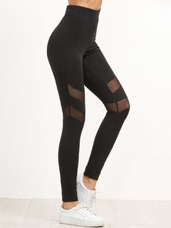 9d709560d41643 Online shopping for Black High Waist Leggings With Mesh Panel Detail from a  great selection of women's fashion clothing & more at MakeMeChic.COM.