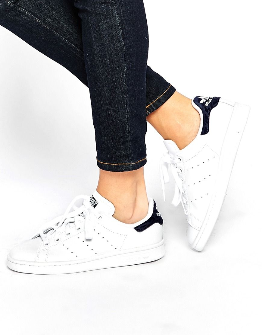 Image 1 of adidas Originals White \u0026 Indigo Stan Smith Sneakers Color: white  and indigo