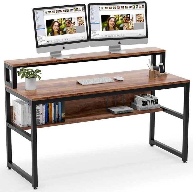 Computer Desk With Shelves 55 Inches Office Writing Desk With Monitor Stand Shelf Study Workstation With Open Bookshelf For Home Office In 2021 Computer Desk With Shelves Desk Shelves Work Station Desk Computer desk with shelf