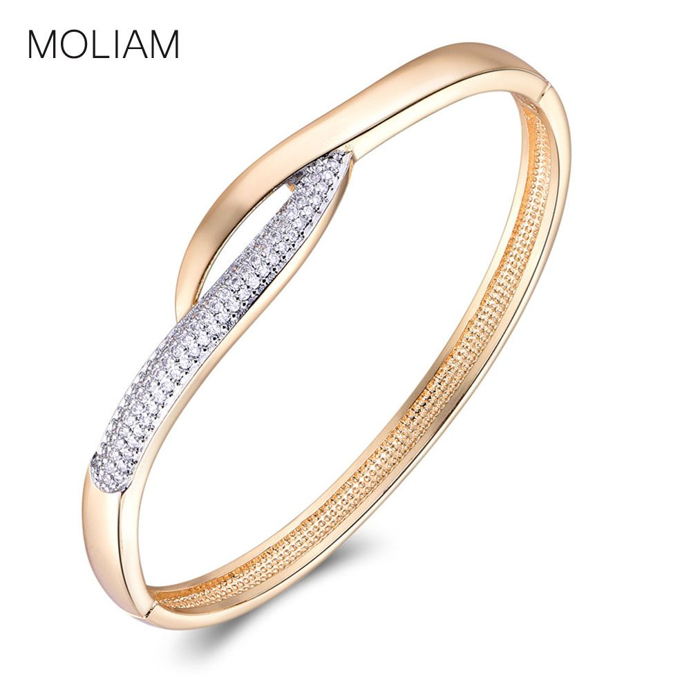 Moliam valentineus day gift bangle for women gold plated aaa cubic