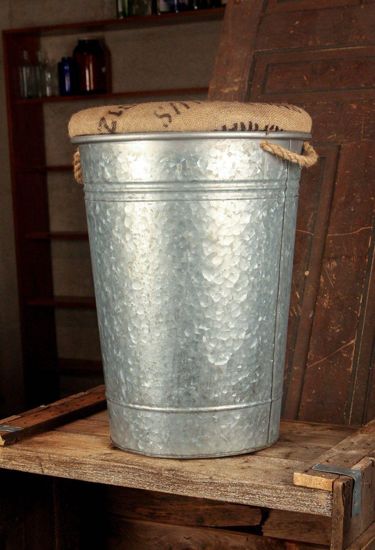 Large Galvanized Bucket Adapted To Storage Stool