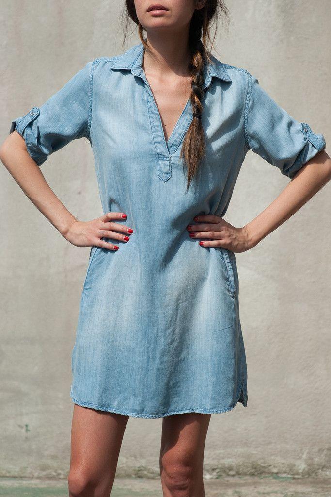 Womens Long Chambray Shirt