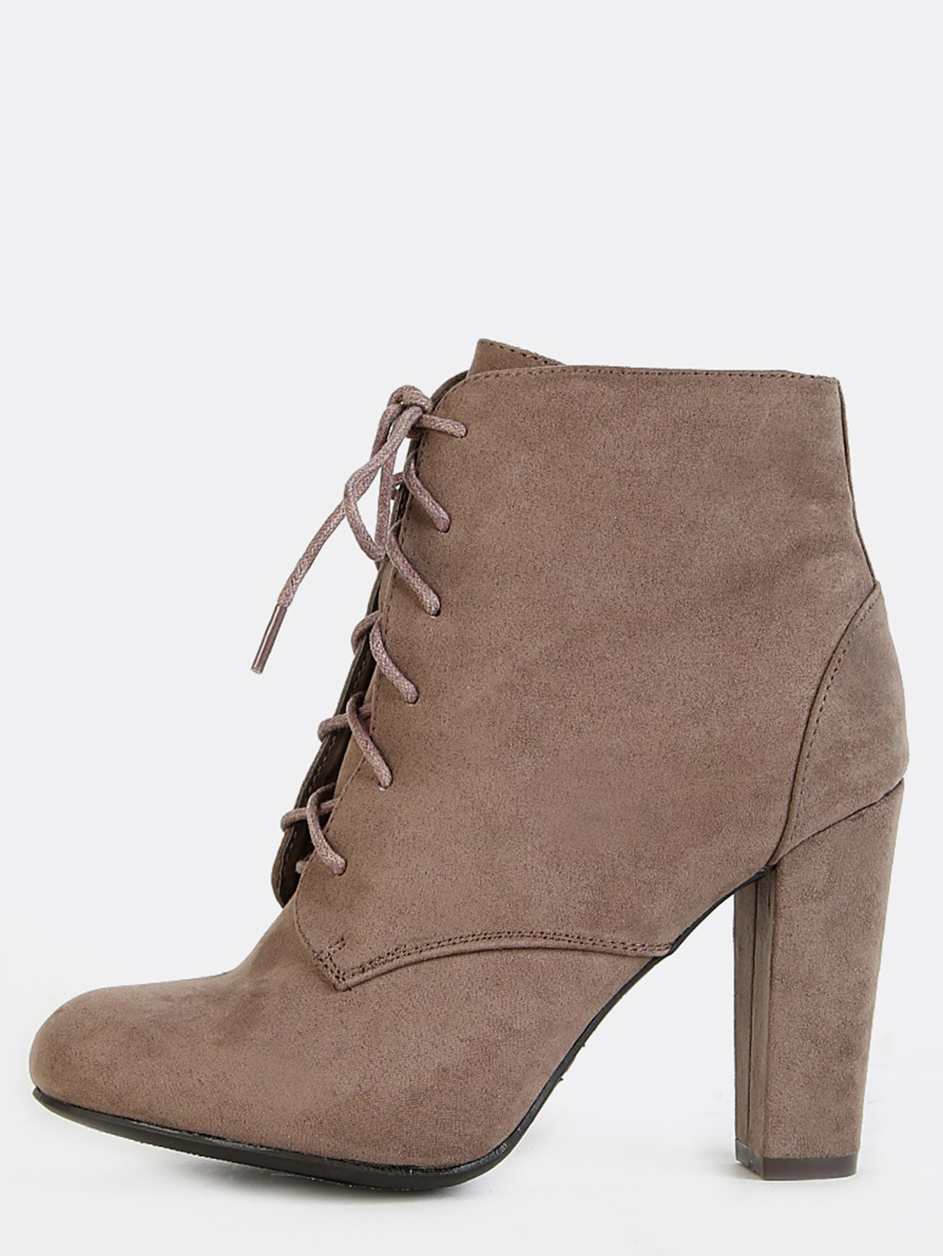 abf324d863ca  AdoreWe  SheIn Boots - SheIn Faux Suede Lace Up Booties TAUPE - AdoreWe.