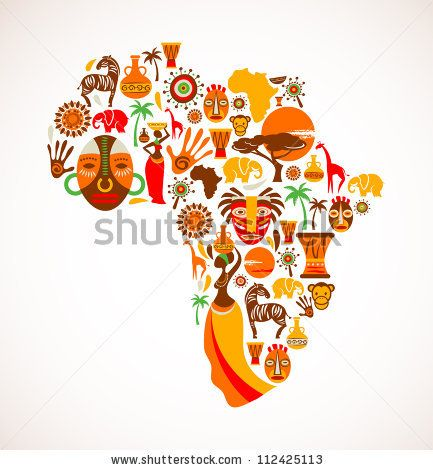Map of Africa with vector icons  stock vector  Addicted to