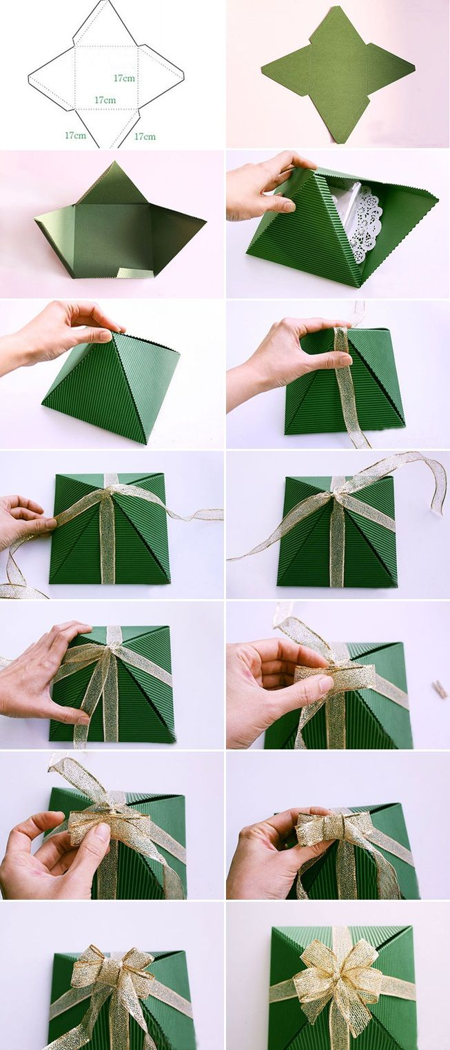 Creative Christmas Gift Wrap Tutorial Dimensions Paper Pyramid Gold Bow Christmas Ideas Christmas Wrapping Diy Gifts Wrapping Diy Diy Holiday Gift Wrapping