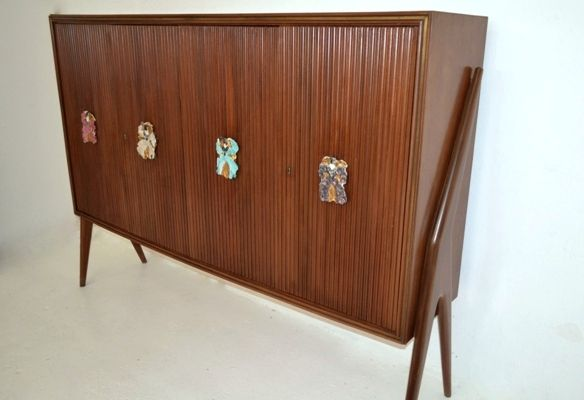 Credenza Danese : Cabinet by paolo buffa 50s with 4 doors and ceramic handles in