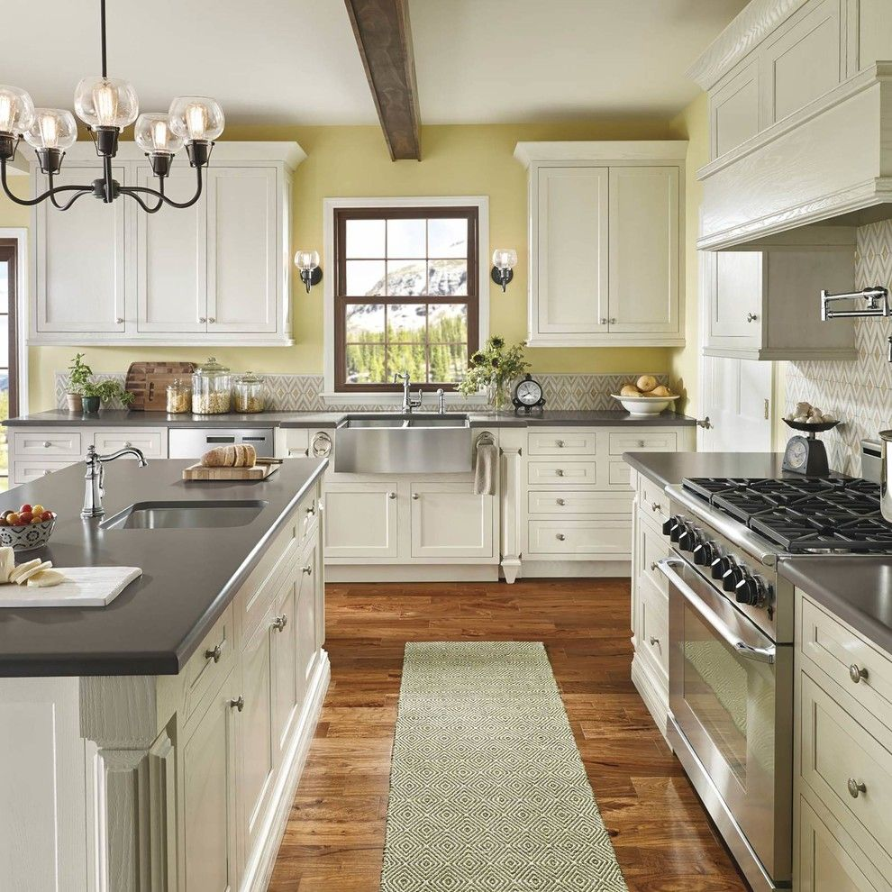 Kitchen Color Schemes with White Farmhouse sink
