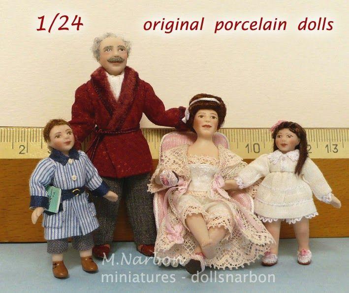 Custom dolls, of porcelain, half inch scale