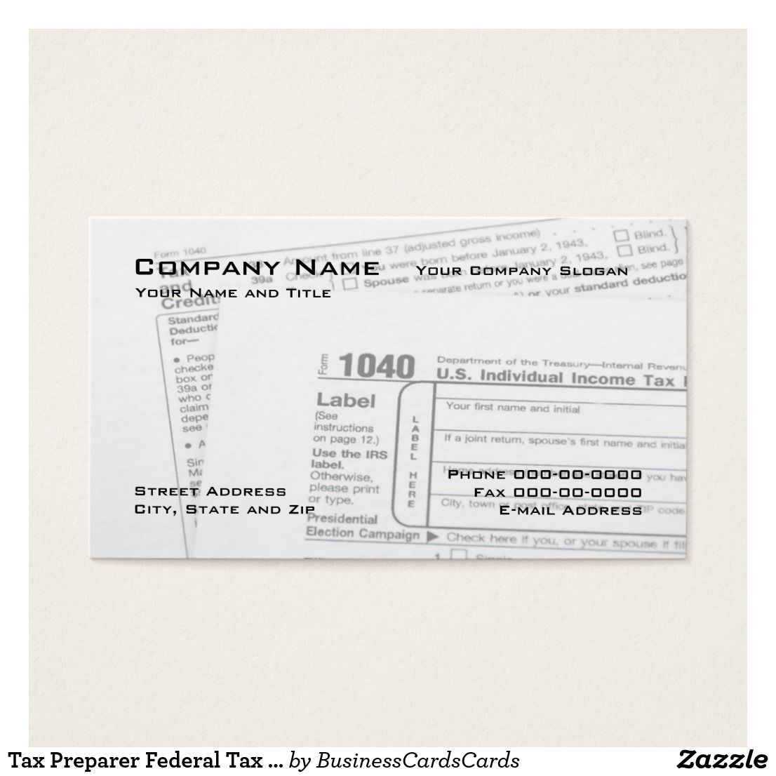 Tax Preparer Federal Tax Form Business Card Custom Check Out More