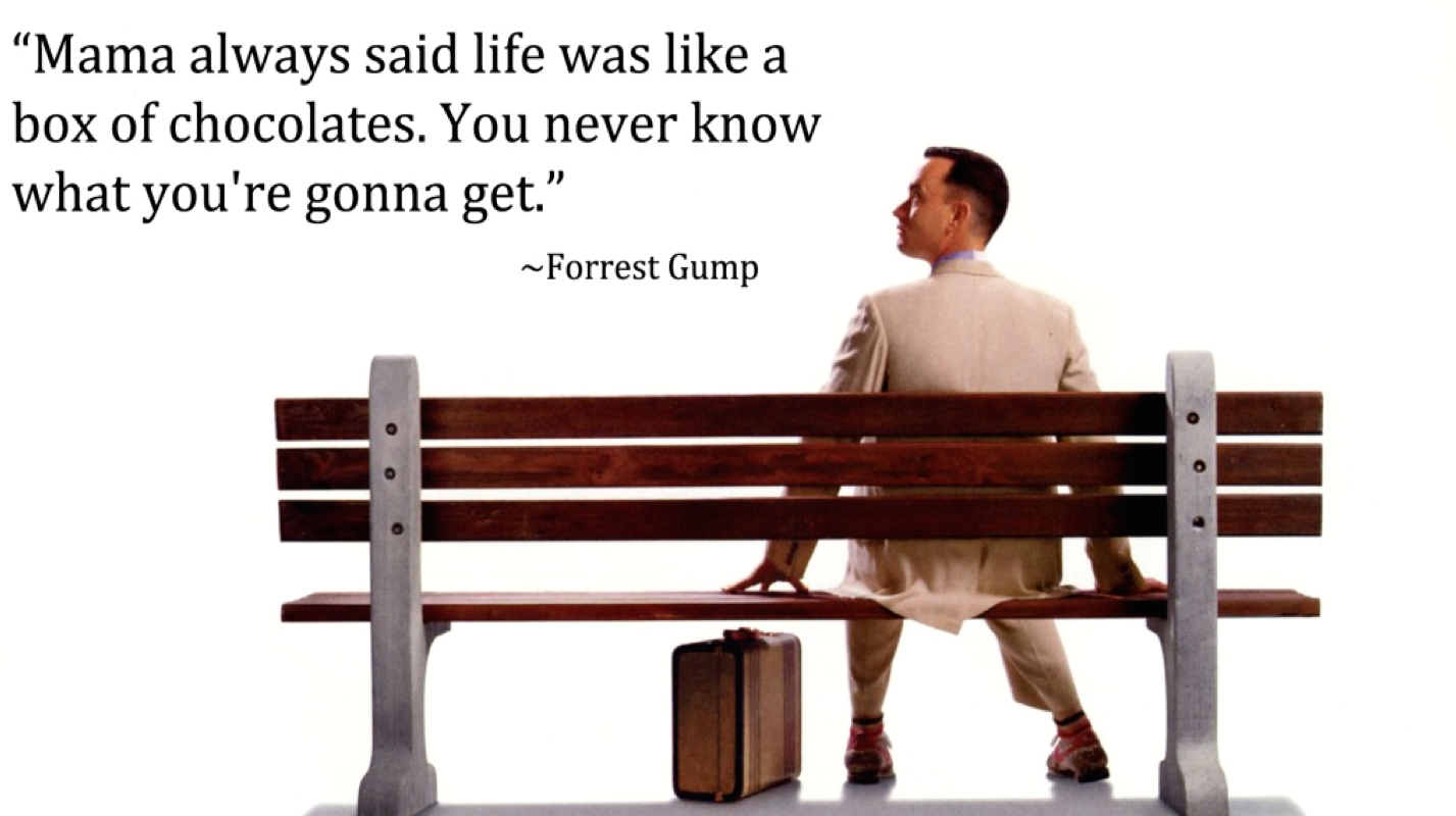 Forrest Gump, life was like a box of chocolates Forrest
