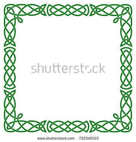 A Square Celtic Frame Isolated Vector Green Image On White Background Celtic Knot Celtic Designs Celtic