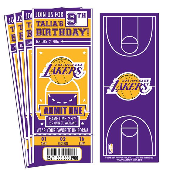 12 Los Angeles Lakers Custom Birthday Party Ticket Invitations Officially Licensed By Nba Los Angeles Lakers Aniversario Angeles