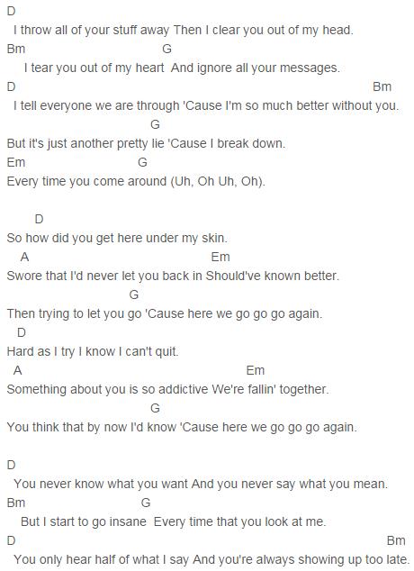 Demi Lovato Here We Go Again Chords Capo 3 Guitar Pinterest