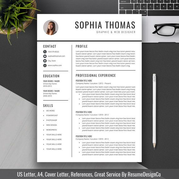 Cover Letter And Resume Builder: 2020 Word Resume Template, CV Template, 1-3 Page, Cover