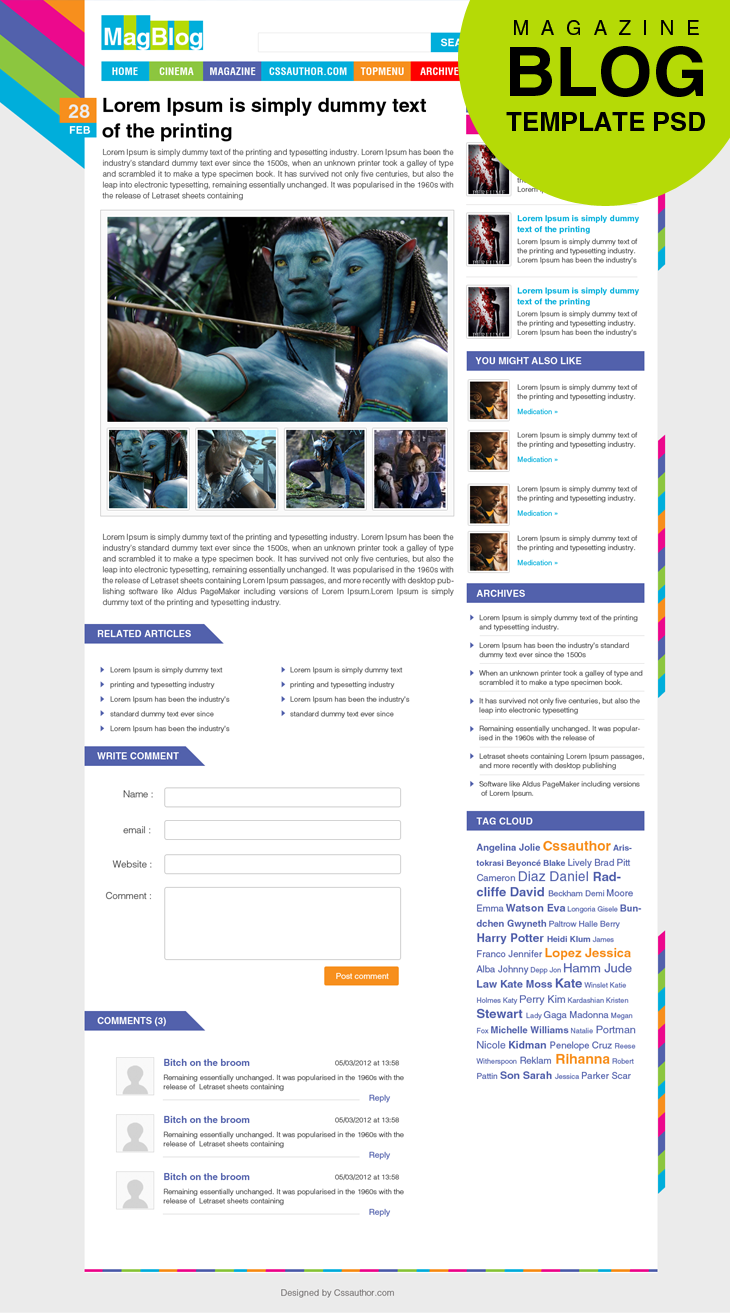 Premium Magazine Blog Template Inner Page Psd For Free Download