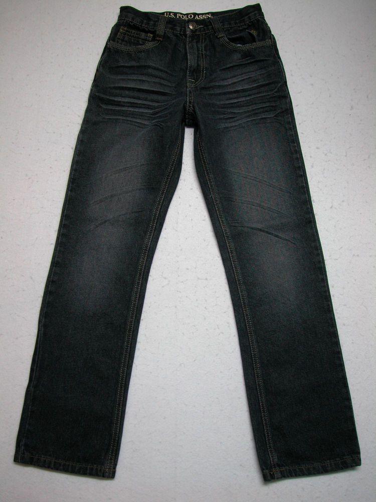 Boys us polo assn16 slim straight jeans dark wash flap
