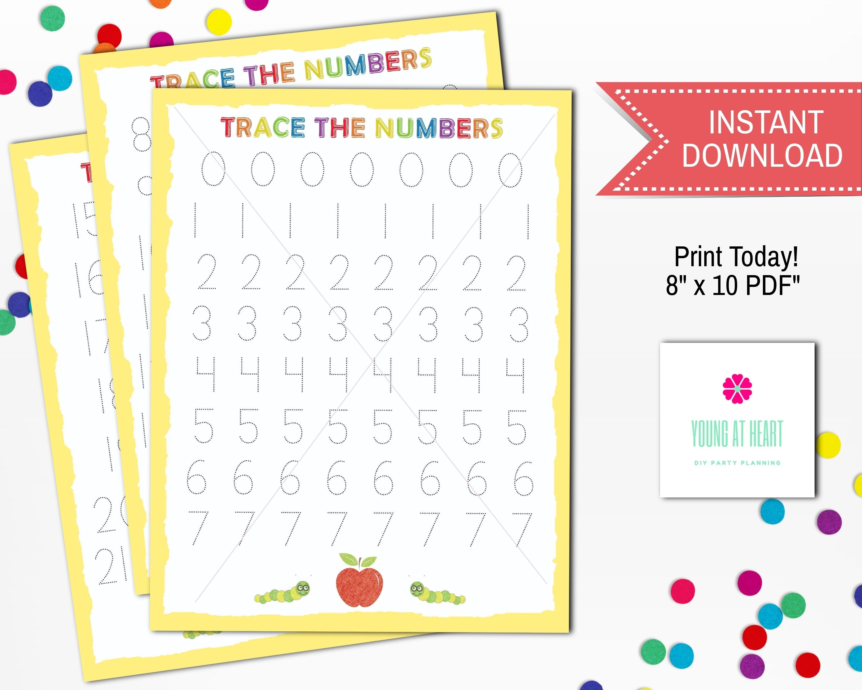 Printable Number Tracing Worksheet Instant Download