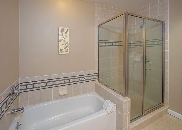 Grand Champions #45| Maui Hawaii Vacations Master Bathroom has Walk In Shower and Separate Bath Tub