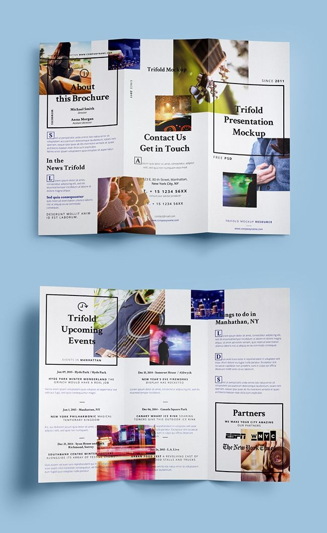 grafikerde - Kostenloses Mockup für Flyer (2-Bruch Wickelfalz - fashion design brochure template