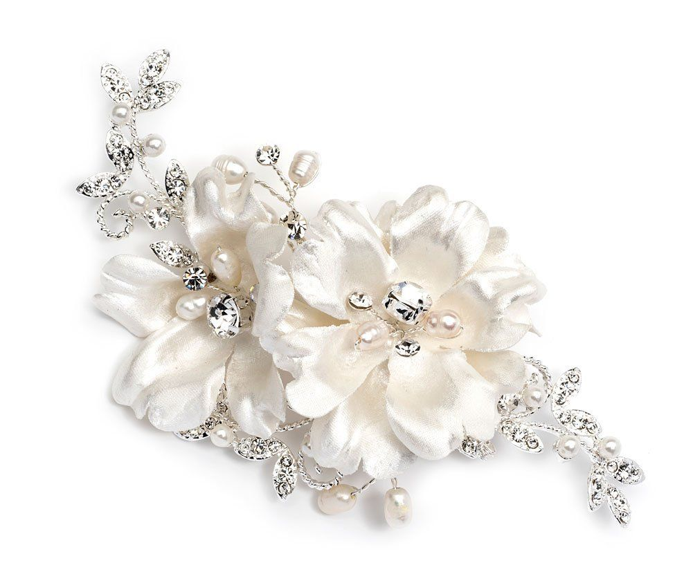 usabride ivory double flower bridal hair comb clip with simulated