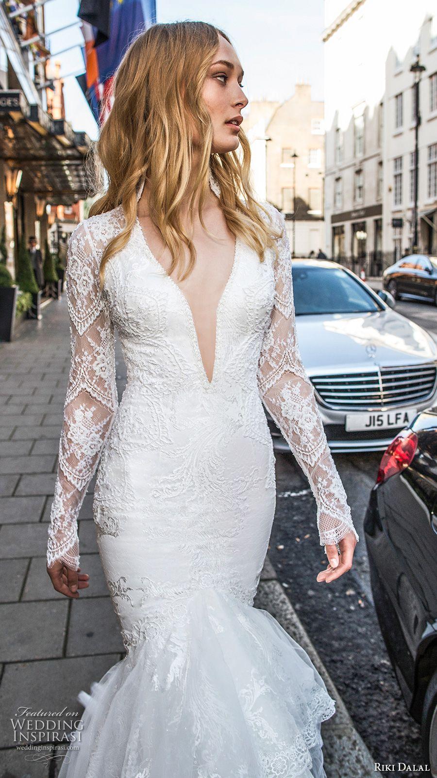 Lace mermaid wedding gowns with long trains  Riki Dalal Fall  Wedding Dresses u ucMayfairud Bridal Collection