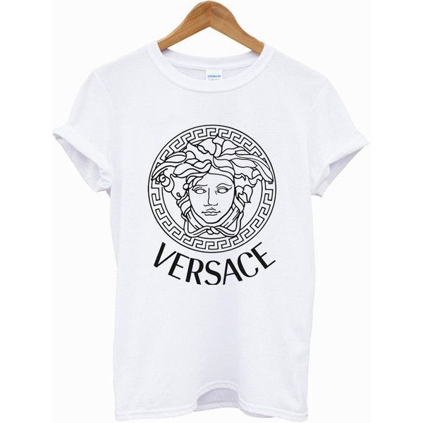 01bd7efdfcc04e Hot VERSACE Printed Logo Men Cotton Black and White T Shirt Tee - 03VR  ( 18) ❤ liked on Polyvore featuring mens, men s clothing, men s shirts, ...
