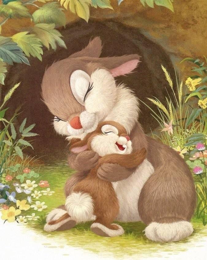 I love you, mom  Маленький зайчонок улыбнулся маме: Я тебя люблю вот так! - и развел руками. А вот как я тебя люблю! - мать ему сказала, Развела руками и тоже показала.