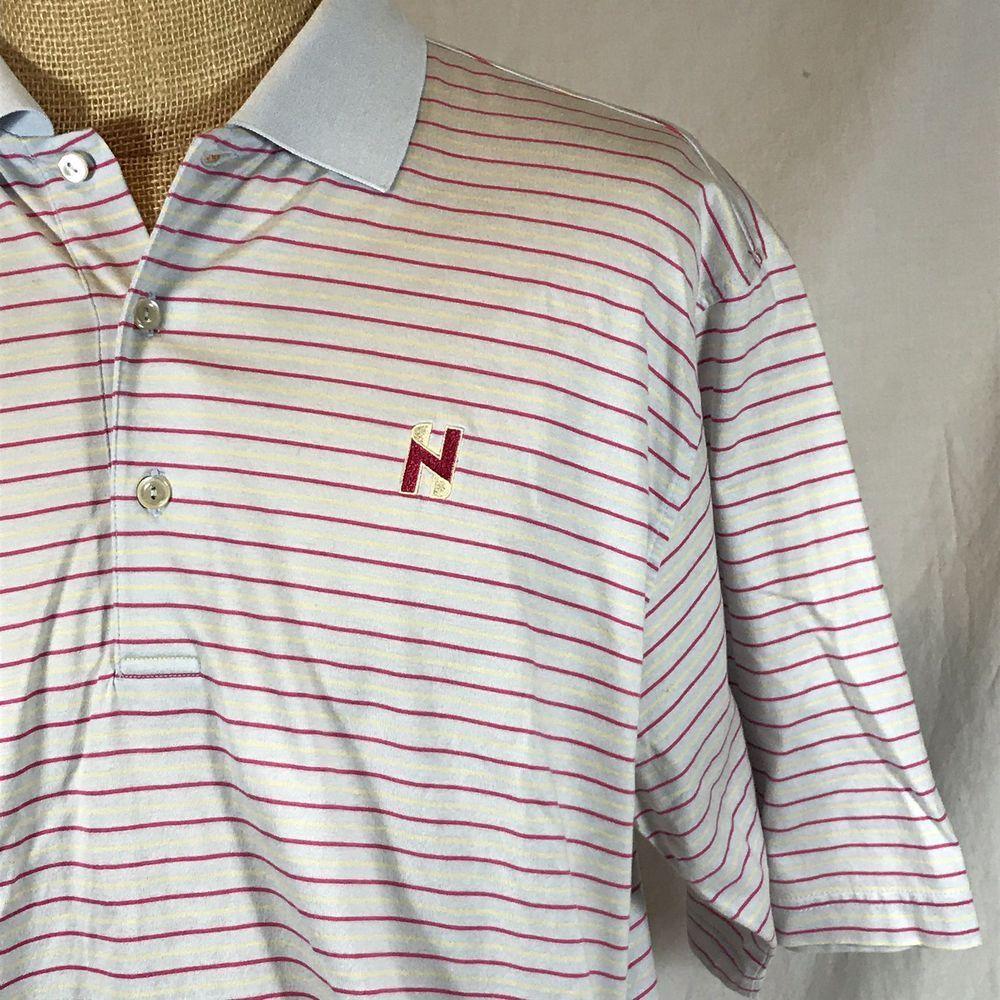 Peter Millar N Logo Golf Polo Shirt Mercerized Gray Pink