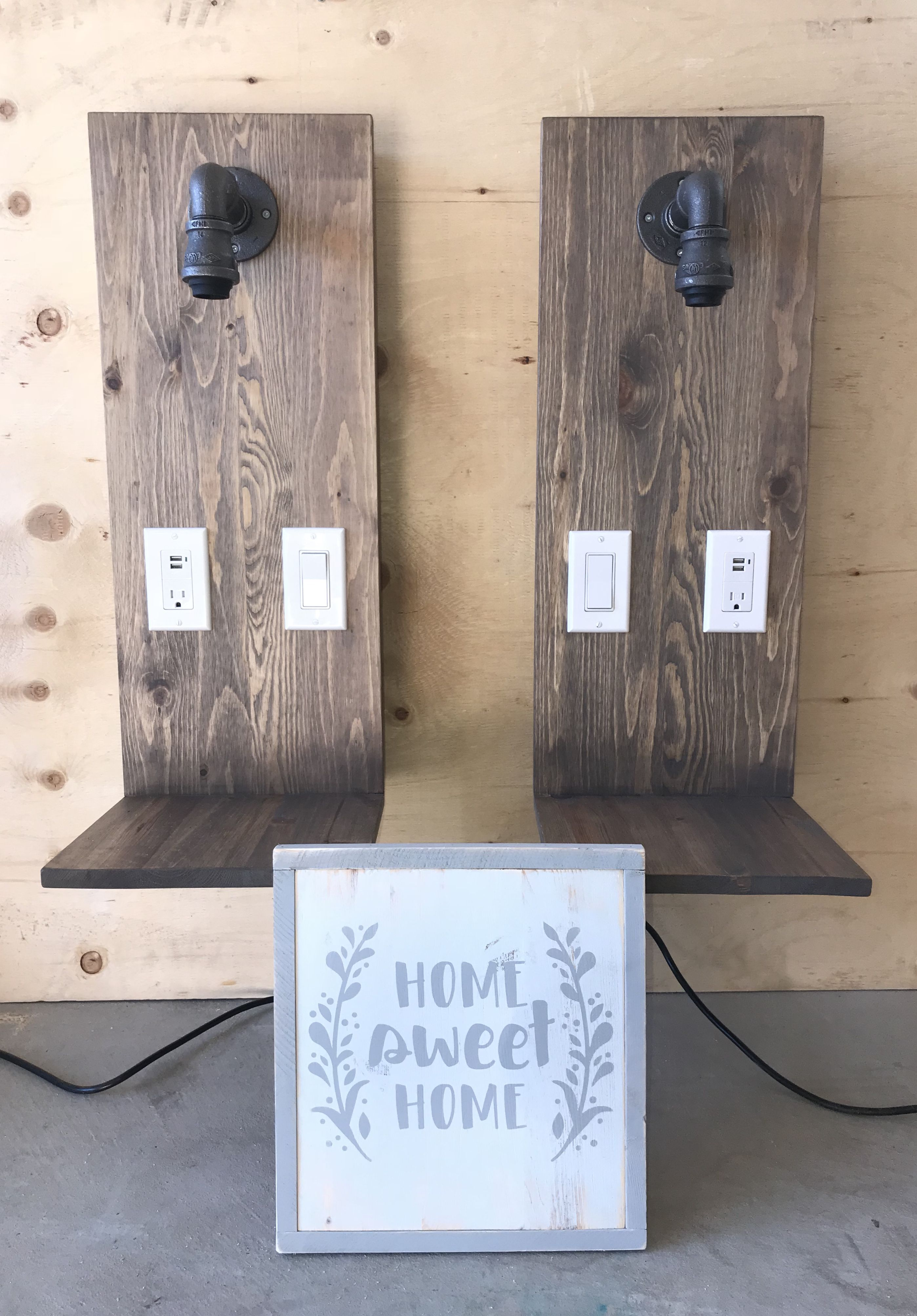 Custom Handmade Floating Nightstands With Light Outlet Usb Switch