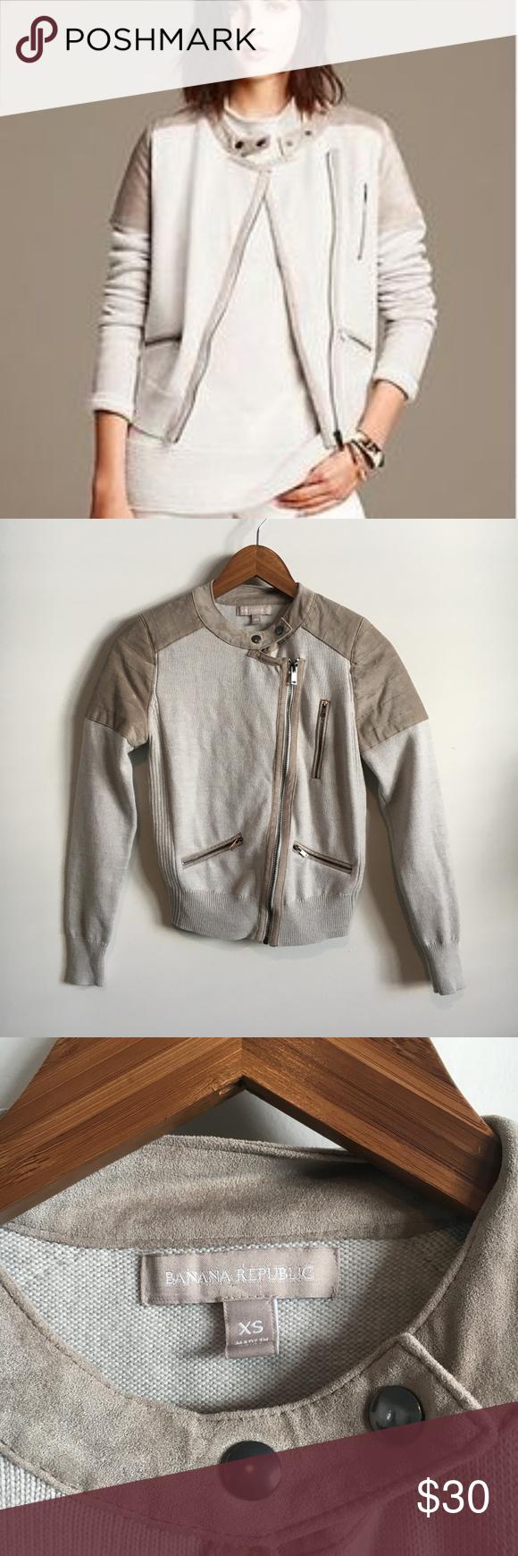 Banana Republic Sweater Moto Jacket Faux Suede Banana