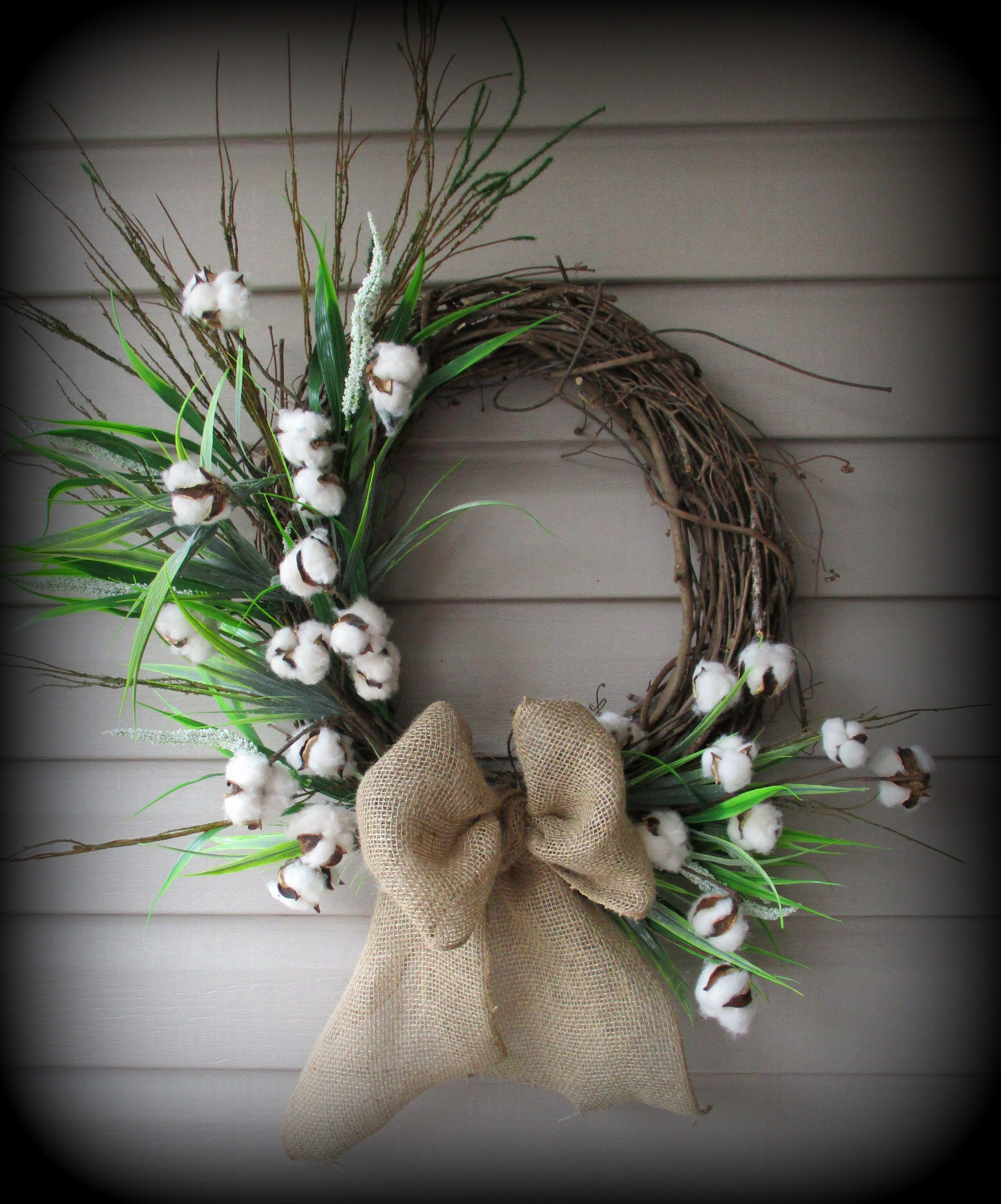 This Is For A Round Greenery Wreath With Cotton Ball Stems And Burlap Bow 24 With Images Wreath Designs Wreaths