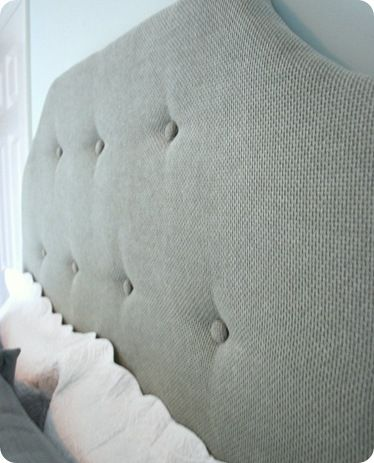 Diy headboard i used small plastic buttons instead of the - What to use instead of a headboard ...