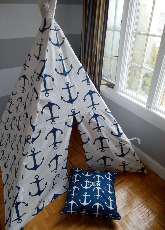 Kids Tee Pee Play Tent Navy Anchors Nautical teepee tent Woven & Kids Tee Pee Play Tent Navy Anchors Nautical teepee tent ...
