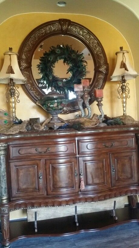 Tuscan Decor foyer buffet table