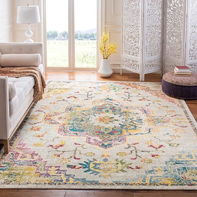 Amazon Com Safavieh Crystal Collection Crs501b Boho Chic Vintage Distressed Area Rug 8 X 10 Light Blue Fuchsia Kitchen Din In 2020 Blue Gray Area Rug Home Rugs