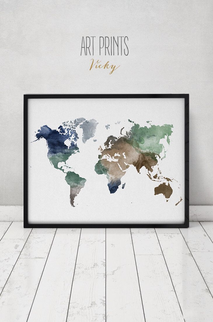 World Map Watercolor Print Travel Map Large World Map World Map - Large world map painting