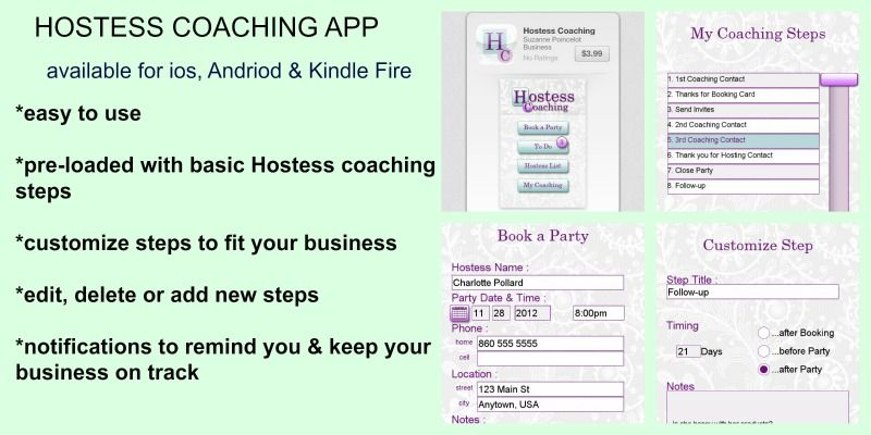 The Hostess Coaching app is an organizational tool for all