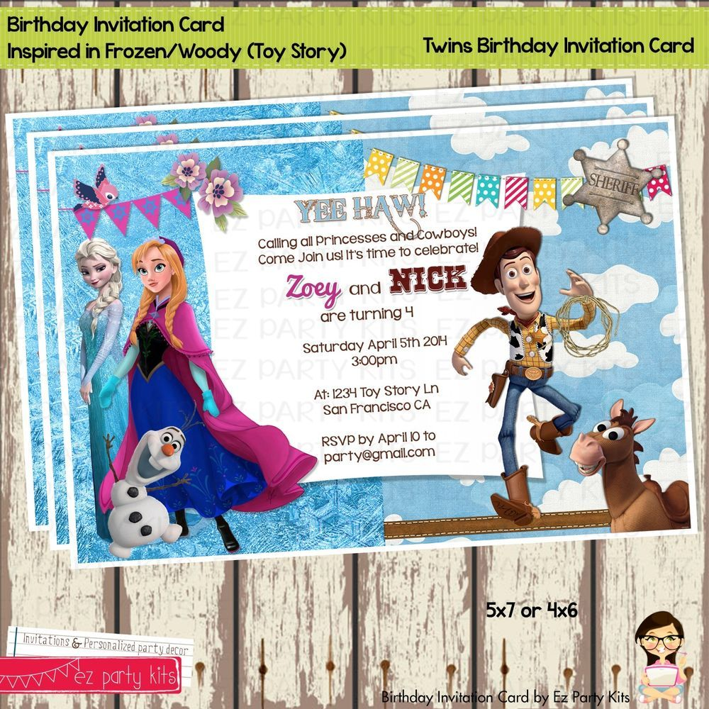 Frozen and Toy Story Twins Birthday Invitation Card Digital File ...