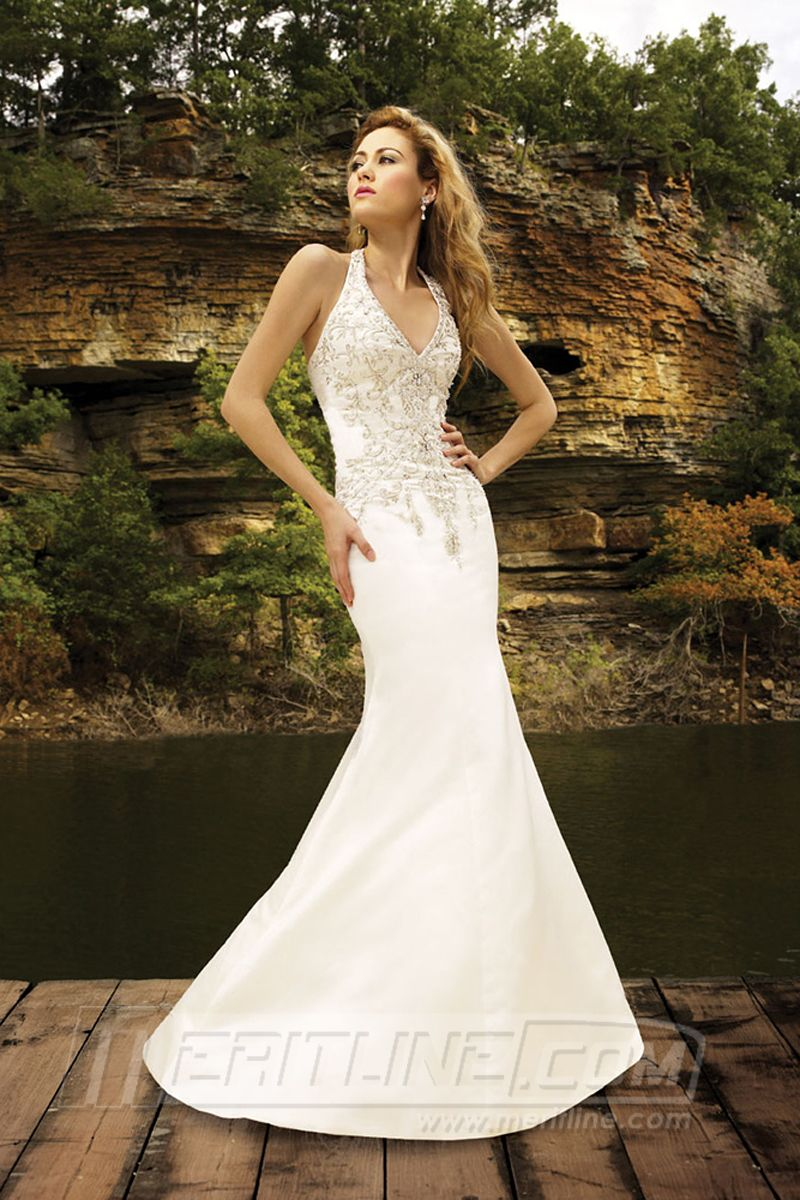 Custom made wedding dress  Trumpet Mermaid Halter Court Train Satin Wedding Dress With Beaded