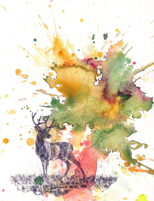 Original watercolor art for sale - Buck Deer Animal Watercolor Painting Deer Original Watercolor Painting On Sale 30 00 Via