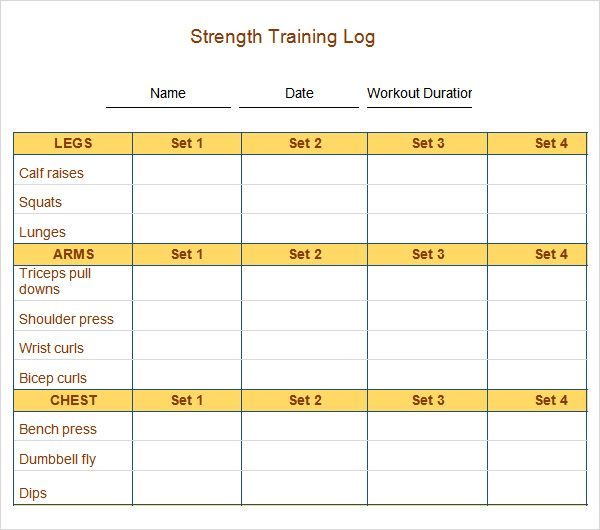 Sample Workout Log Template - 8+ Download in Word, PDF, PSD - food log templates